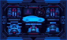 Service de véhicule Interface graphique dans un cadre stylisé Roues diagnostiques d'alignement Vérifiez les paramètres de voiture illustration libre de droits