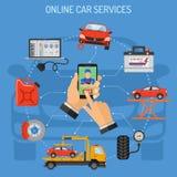 Service de voiture et concept d'entretien en ligne Images stock