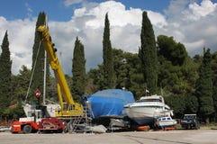 Service de yacht dans Rovinj en Croatie Photo stock