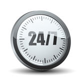 24/7 service delivery button icon. 24/7 service delivery timer button icon Stock Image