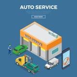 Service des réparations automatique isométrique plat de voiture construisant le VE illustration libre de droits