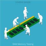 Service des réparations d'essai de mémoire RAM Travail de soldat illustration de vecteur