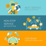 Service des réparations de voiture et calibre plat d'infographics de Web de style de lavage Photo libre de droits