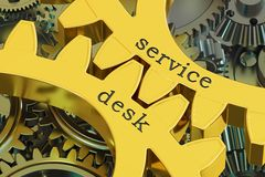Service Desk concept on the gearwheels, 3D rendering Stock Photos
