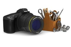 Service digital camera on white background.  3D illustra Stock Photo