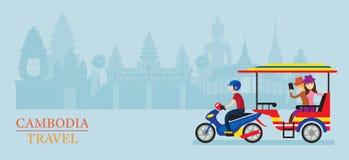 Service du Cambodge Tuk Tuk pour le touriste, fond de points de repère Photo libre de droits