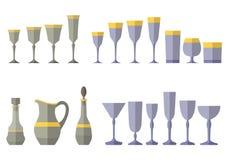 Service en cristal de la cruche en verre de décanteur Photos libres de droits