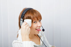 Service en ligne d'opérateur. humeur Photos stock