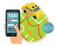 Service en ligne de taxi public, application mobile Photo stock