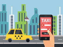 Service en ligne de taxi public, application mobile Photos stock
