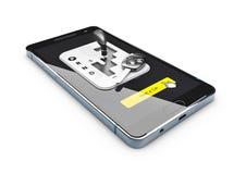 Service en ligne de voiture de loyer, d'isolement sur l'illustration blanche du fond 3d Images libres de droits