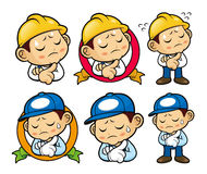 Service Engineer Character a hard problem that is occurred. Royalty Free Stock Photo