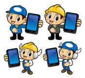 Service Engineer Character is holding a smart phone. Royalty Free Stock Photo