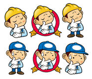 Service Engineer Character is troubled by headaches. Royalty Free Stock Photography