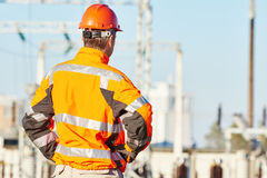 Service Engineer Standing At Heat Electropower Station Royalty Free Stock Photos