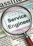 Service Engineer Wanted. 3D. Illustration of Searching Job of Service Engineer in Newspaper with Magnifier. Service Engineer - Close Up View Of A Classifieds Royalty Free Stock Images