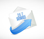24-7 service envelope sign concept Stock Photography
