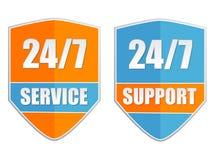 24/7 service et support, deux labels Images libres de droits