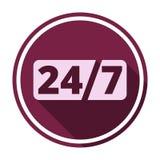 Service et support pour des clients, 24 heures avec la longue ombre Images stock
