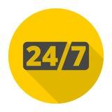 Service et support pour des clients, 24 heures avec la longue ombre Photo libre de droits