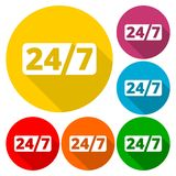 Service et support pour des clients, 24 heures avec le long ensemble d'ombre Images libres de droits