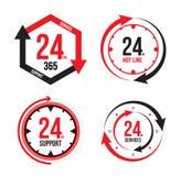 Service et support pour des clients vingt-quatre heures sur vingt-quatre Images libres de droits