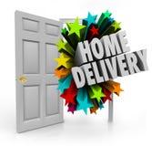 Service för ankomst för sändning för packe för öppen dörr för hem- leverans special vektor illustrationer