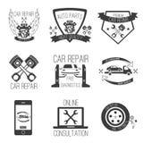 Service för bil för uppsättning för vektor för bilreparationssymbol Arkivbilder