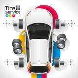 Service för bilgummihjul Royaltyfri Bild