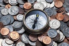 Service för kompasspengarledning Arkivbilder