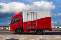 Service för lastbilbehållaretrans. Royaltyfri Foto