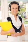 service för operatör för kundkvinnlighörlurar med mikrofon Royaltyfria Foton