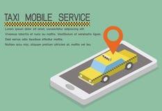 Service för taxi för app för vektorbegrepp mobil royaltyfri foto