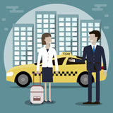 Service för taxitaxi vektor illustrationer