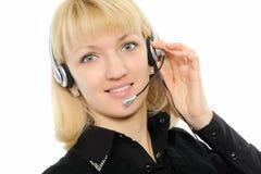 service för tekniker för kundkvinnlighörlurar med mikrofon Arkivbild
