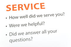 Service feedback Royalty Free Stock Photo