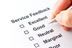Service feedback isolated over white background Royalty Free Stock Photography
