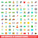 100 service and garage icons set, cartoon style. 100 service and garage icons set in cartoon style for any design vector illustration royalty free illustration