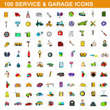 100 service and garage icons set, cartoon style Royalty Free Stock Photos