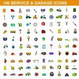 100 service and garage icons set, cartoon style. 100 service and garage icons set in cartoon style for any design illustration stock illustration
