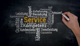 Service in german Competence, consulting Cloud is written by h. And on blackboard royalty free stock images