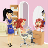 Service girl in beauty salon at the hairdresser Stock Images