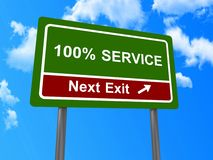 100% Service sign. Green sign board in roadside style with text in uppercase letters saying  '100% service', background of bright blue sky and clouds Royalty Free Stock Photos