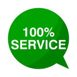 100% service, Green Speech Bubble. Green Speech Bubble 100% service, vector icon stock illustration