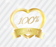 100 service guarantee. Love badge sign 100 service guarantee Stock Photo
