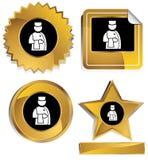 service hôtelier noir d'or Photo libre de droits