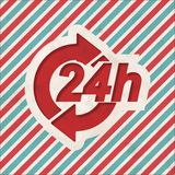 Service 24h Concept on Retro Striped Background. Service 24h Concept on Red and Blue Striped Background. Vintage Concept in Flat Design Royalty Free Stock Image