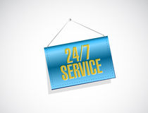 24-7 service hanging banner sign concept Stock Photos