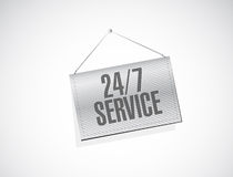 24-7 service hanging banner sign concept. Illustration design icon graphic Stock Image