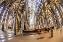 Service held in Central nave. COLOGNE, GERMANY- SEP 7, 2014: church service held in the cathedral in Cologne, Germany. The dome is Germanys most visited landmark royalty free stock images